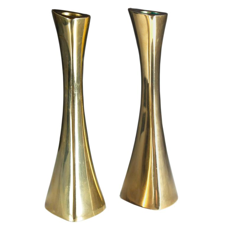 Pair of Swedish Candlesticks in Solid Brass by BCA Eskilstuna  For Sale