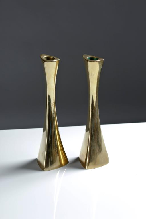 Mid-Century Modern Pair of Swedish Candlesticks in Solid Brass by BCA Eskilstuna  For Sale