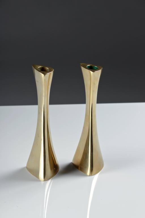 Pair of Swedish Candlesticks in Solid Brass by BCA Eskilstuna  In Good Condition For Sale In Karlstad, SE