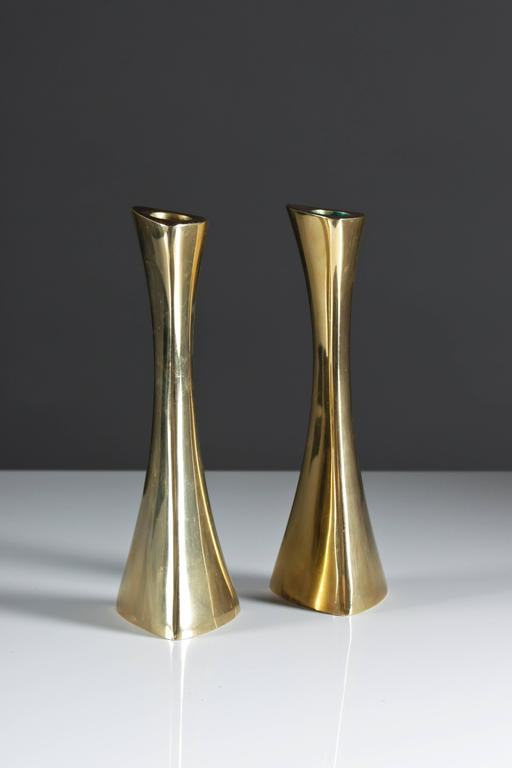 Pair of Swedish Candlesticks in Solid Brass by BCA Eskilstuna  For Sale 1
