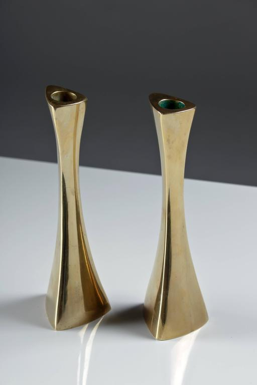 Pair of Swedish Candlesticks in Solid Brass by BCA Eskilstuna  For Sale 3