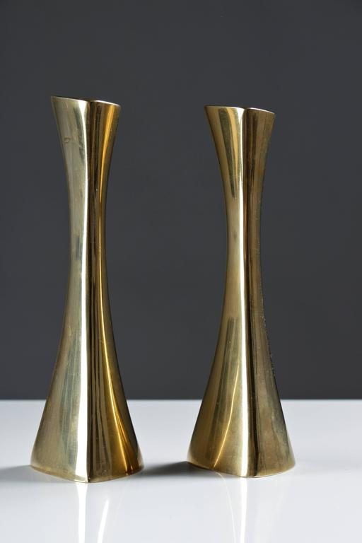 Pair of beautiful, organic shaped candlesticks in brass by K-E Ytterberg for BCA Eskilstuna.