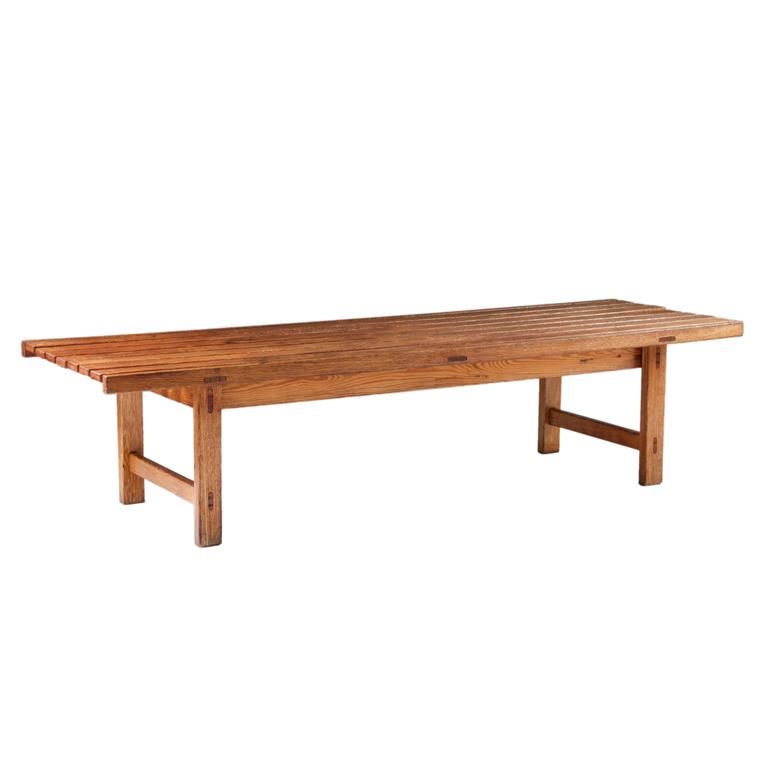 Swedish Bench or Side Table in Oak by Hugo Svensson