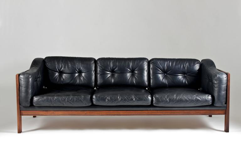 Mid Century Modern Rosewood And Leather Sofa