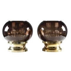 Pair of Table Lamps in Brass and Glass by Orrefors, Sweden, 1960s