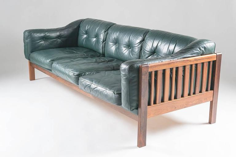 """Scandinavian Rosewood And Green Leather Sofa """"Monte Carlo"""", 1965"""