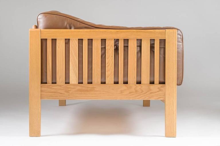 Scandinavian Modern Swedish Oak and Brown Leather Sofa