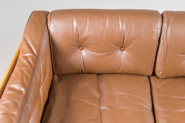 20th Century Swedish Oak and Brown Leather Sofa