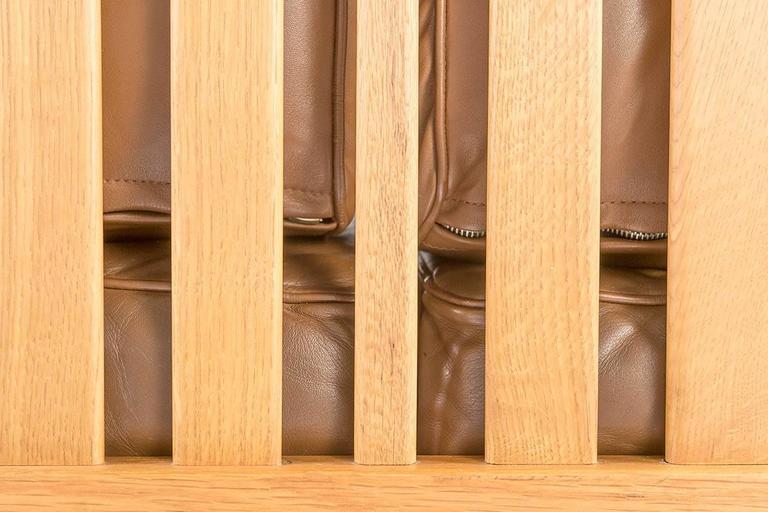 Swedish Oak and Brown Leather Sofa