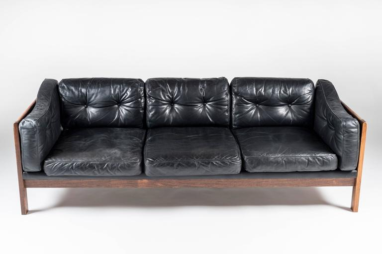 Scandinavian Modern Scandinavian Rosewood and Black Leather Sofa