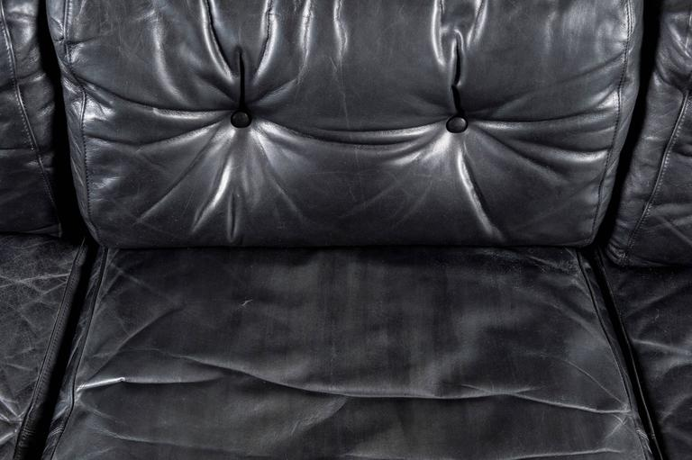 Scandinavian Rosewood and Black Leather Sofa