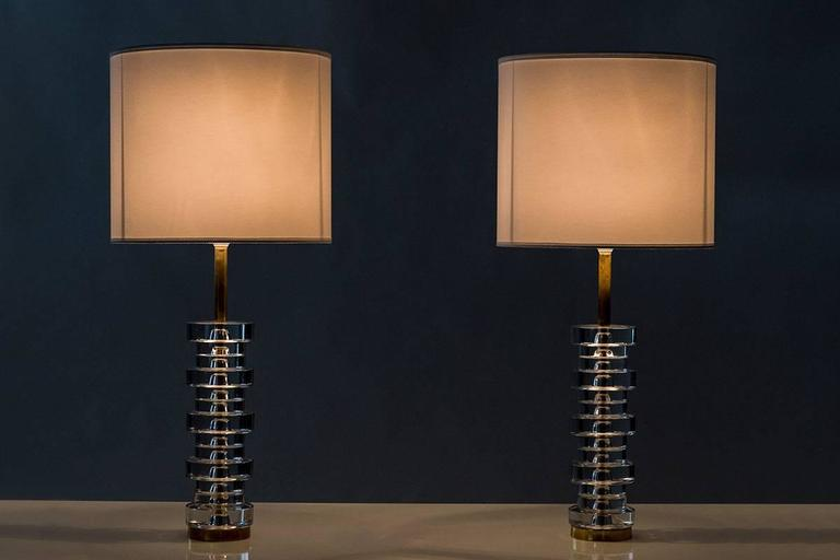 Pair of Large Swedish Table Lamps by Carl Fagerlund for Orrefors For Sale 2