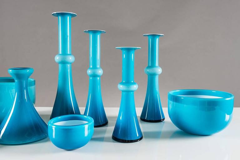 Scandinavian Modern Collection of Scandinavian Blue Glass by Per Lutken for Holmegaard For Sale