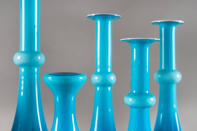 Collection of Scandinavian Blue Glass by Per Lutken for Holmegaard In Excellent Condition For Sale In Karlstad, SE