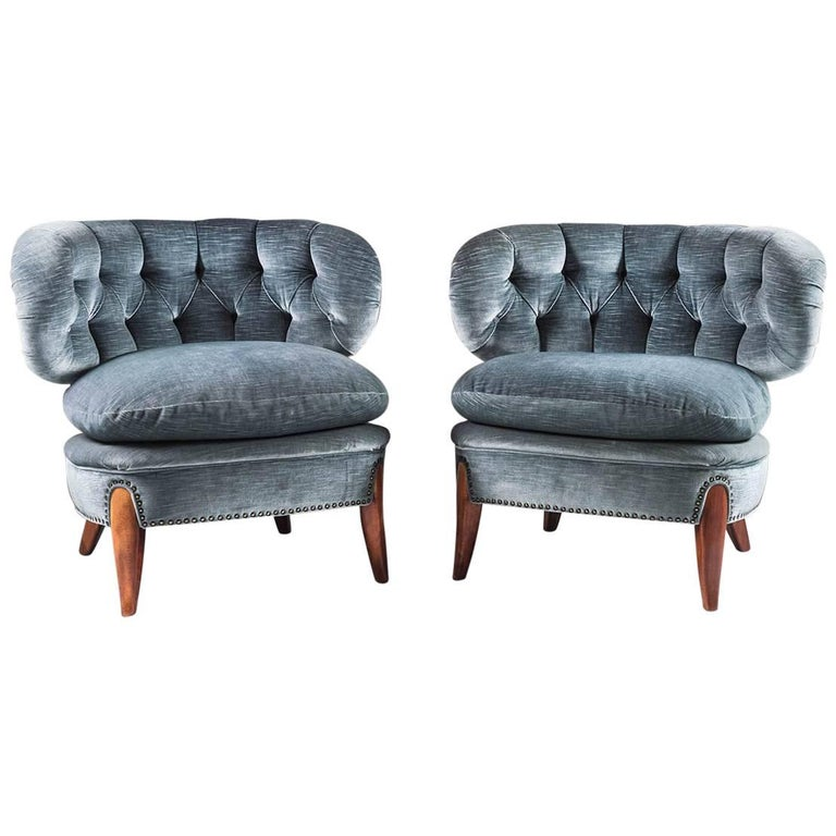 Pair of Scandinavian Midcentury Easy Chairs by Otto Schulz