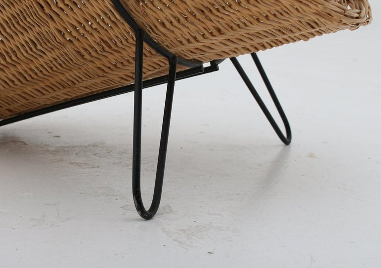 Scandinavian Midcentury Firewood Basket in Cane and Metal In Good Condition For Sale In Karlstad, SE