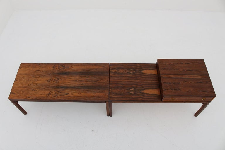 Stunning side tables rosewood with brass details, model