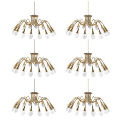 Scandinavian Midcentury Starburst Chandeliers in Brass by Böhlmarks, Sweden