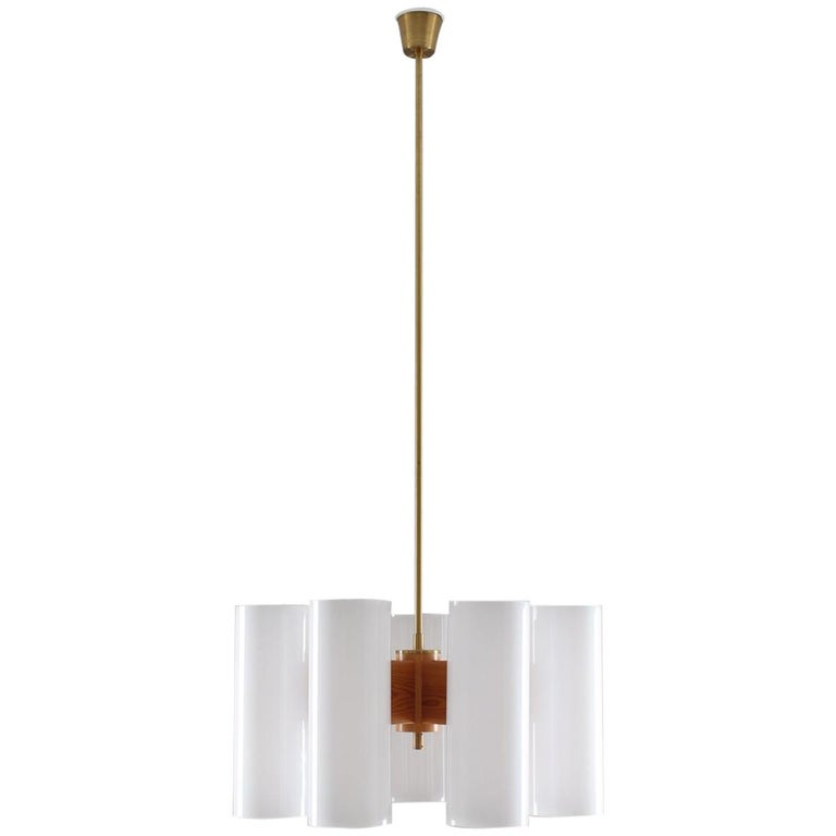 Pair of Large Swedish Midcentury Chandeliers in Acrylic, Pine and Brass by Luxus For Sale