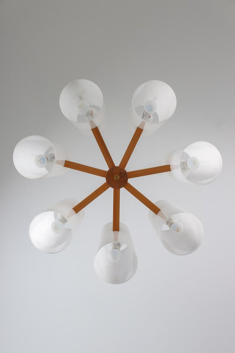 Pair of Large Swedish Midcentury Chandeliers in Acrylic, Pine and Brass by Luxus For Sale 1