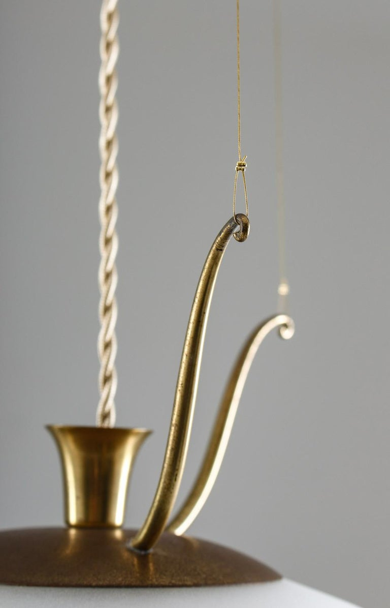 Scandinavian Pendants in Brass and Glass, Swedish Modern, 1940s For Sale 4
