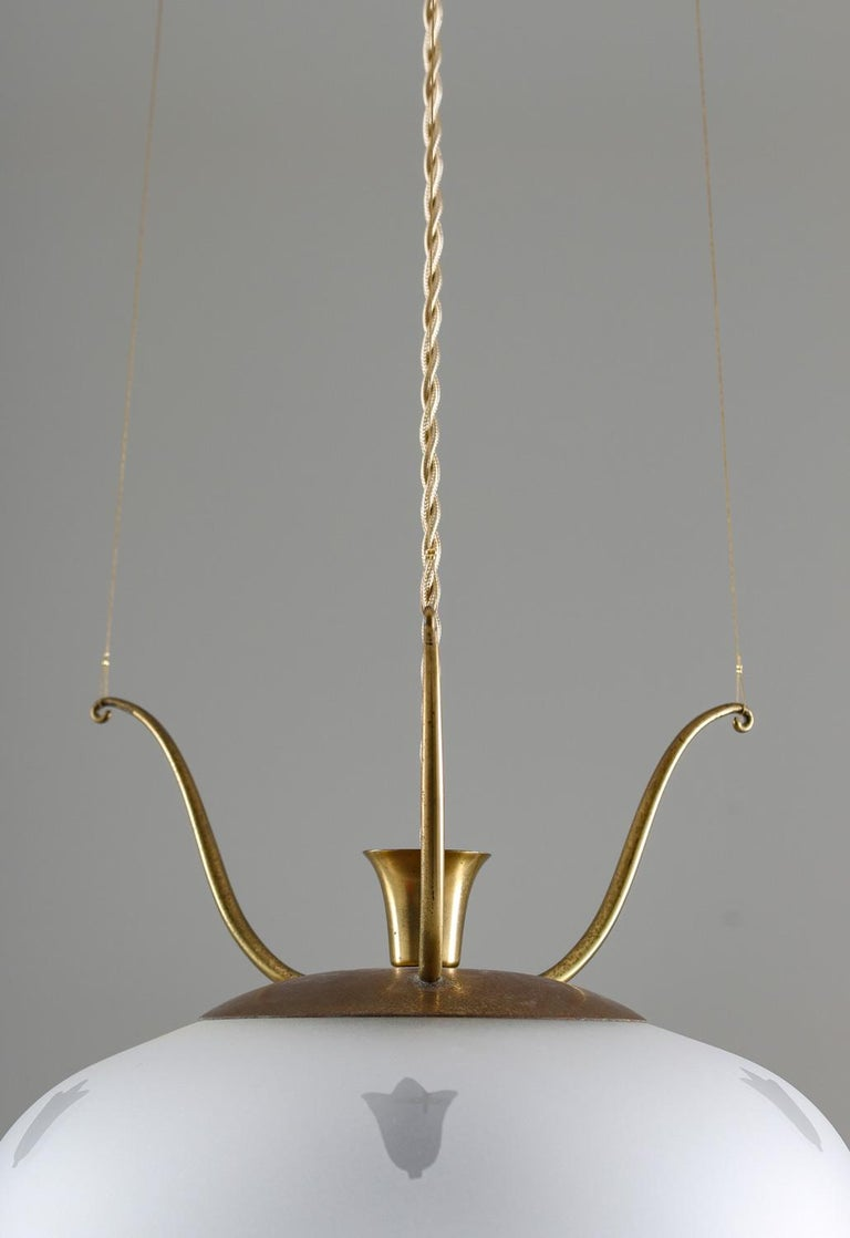 Scandinavian Pendants in Brass and Glass, Swedish Modern, 1940s For Sale 5