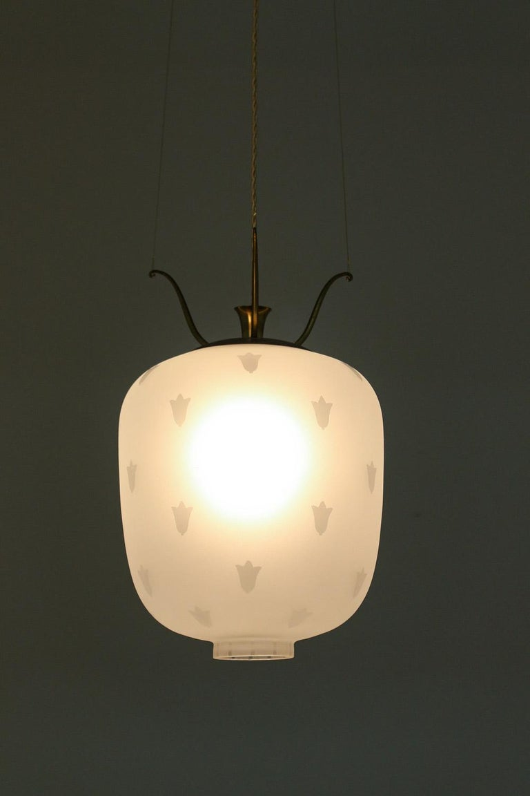 Scandinavian Modern Scandinavian Pendants in Brass and Glass, Swedish Modern, 1940s For Sale
