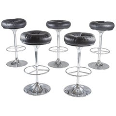 Set of Five Swedish Chrome and Leather Bar Stools by Johanson Design