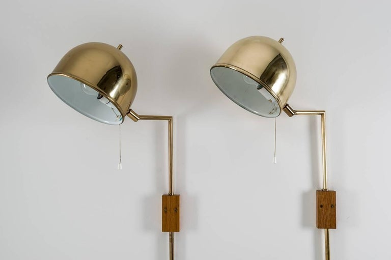 Mid-Century Modern Scandinavian Midcentury Wall Lamps in Brass by Bergboms, Sweden For Sale