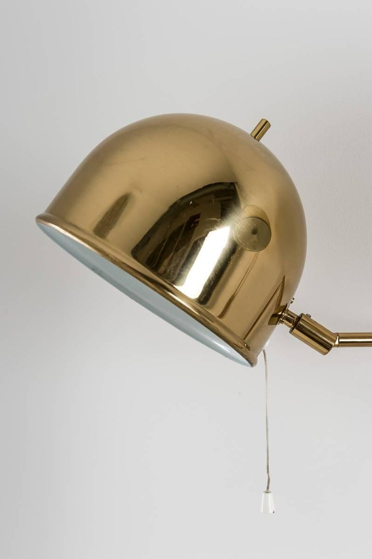 Swedish Scandinavian Midcentury Wall Lamps in Brass by Bergboms, Sweden For Sale