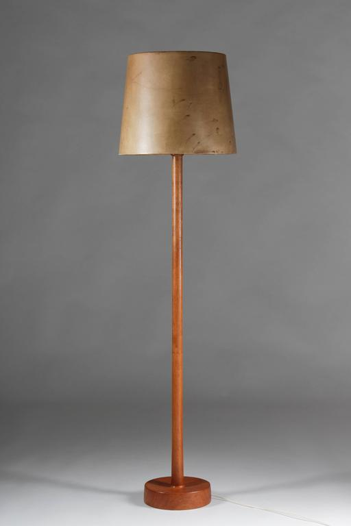 Floor lamp with leather shade by uno and sten kristiansson for big floor lamp in teak by uno sten kristiansson for luxus this lamp features aloadofball