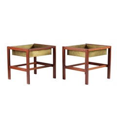 Pair of Flower Tables in Teak and Brass