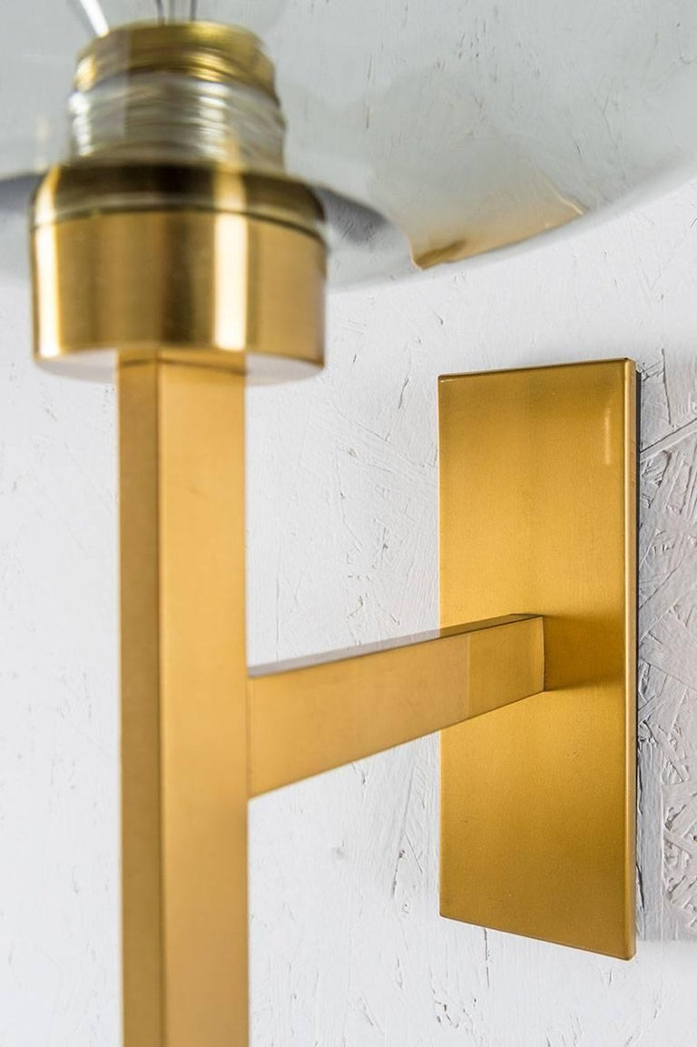 Scandinavian Modern Swedish Wall Lights by Holger Johansson in Brass and Glass For Sale