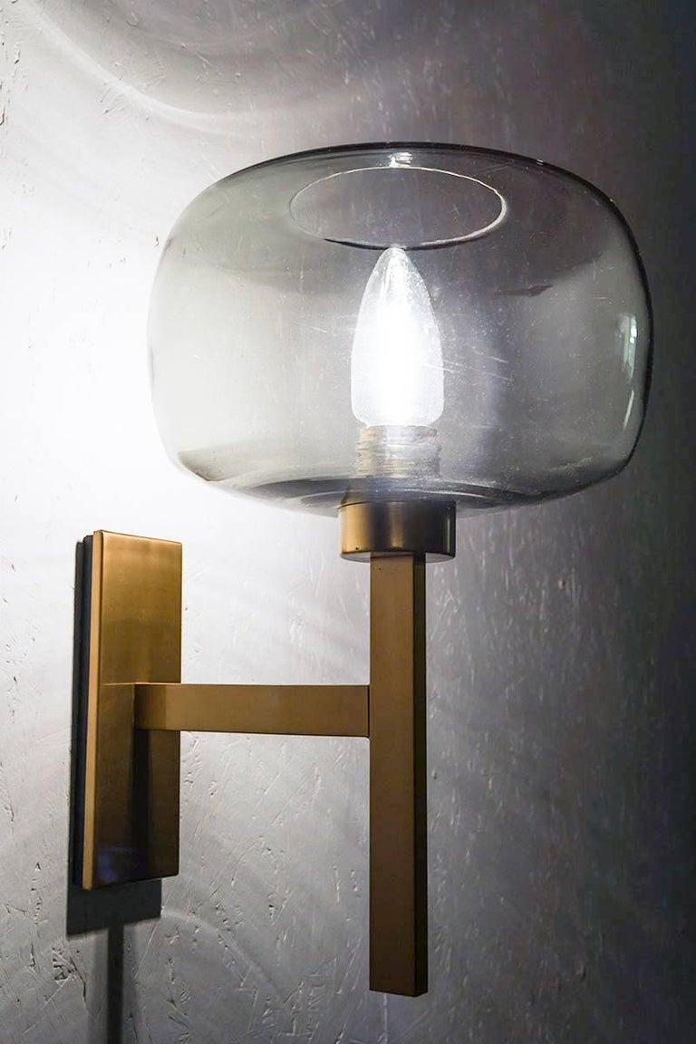 20th Century Swedish Wall Lights by Holger Johansson in Brass and Glass For Sale