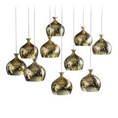 "Helge Zimdal ""the Onion"" Swedish Midcentury Pendants in Brass"