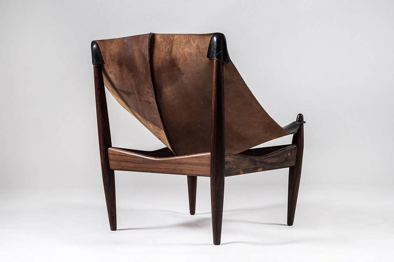 Danish Scandinavian Easy Chair and Ottoman Model 272 Designed by Illum Wikkelsø For Sale