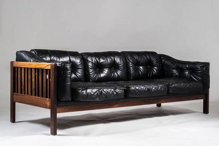 Scandinavian Modern Midcentury Rosewood And Black Leather Sofas