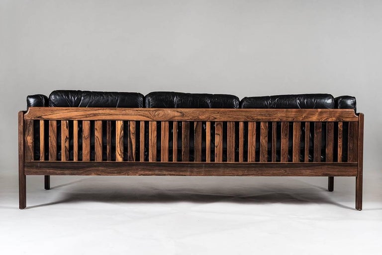 Scandinavian Midcentury Rosewood and Black Leather Sofas