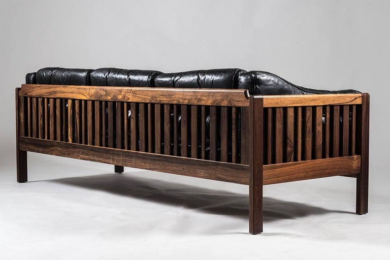Swedish Scandinavian Midcentury Rosewood and Black Leather Sofas