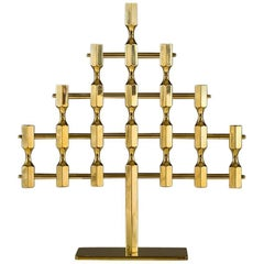 Large Swedish Candelabra in Brass by Lars Bergsten for Gusum