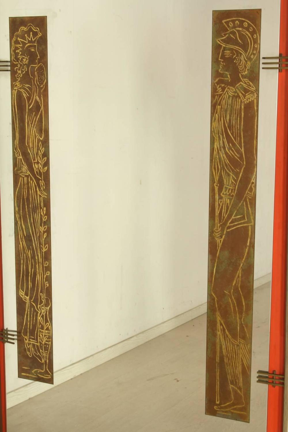 Large 1950s wooden wall mirror with mythological figures Large wooden mirrors for sale