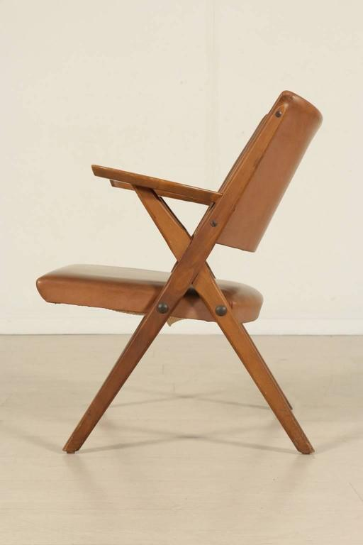 Seven Chairs Stained Beech Wood Foam Padding Leatherette