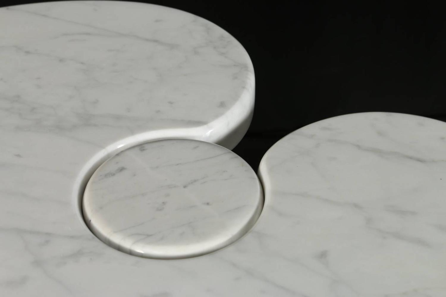 White Carrara Marble 39 Eros 39 Coffee Table By Angelo Mangiarotti For