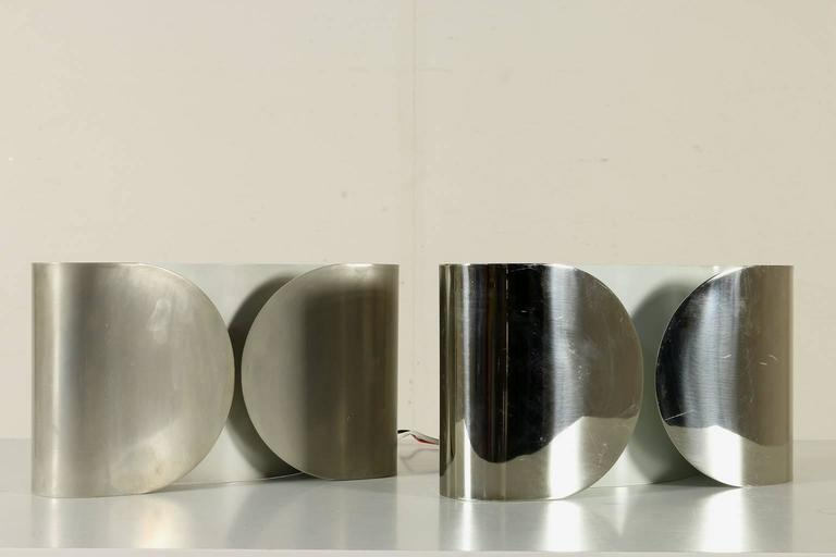 Two Foglio Wall Lamps by Tobia Scarpa for Flos Chromed ...