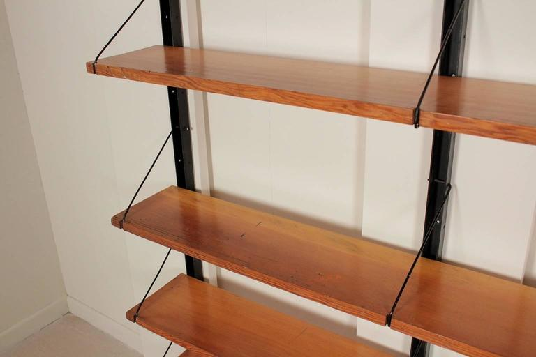 Wall Bookcase Metal Uprights Maple Shelves Vintage Manufactured in Italy,  1950s 2