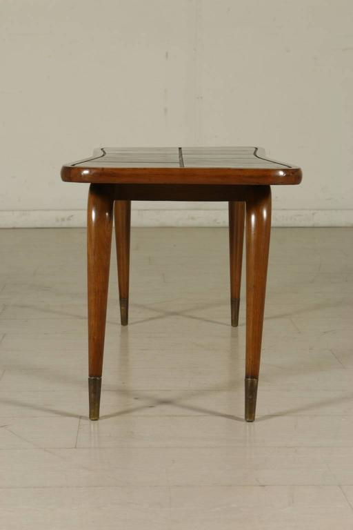 Vintage Coffee Table Walnut Veneer Stained Beech Brass Italy 1950s At 1stdibs