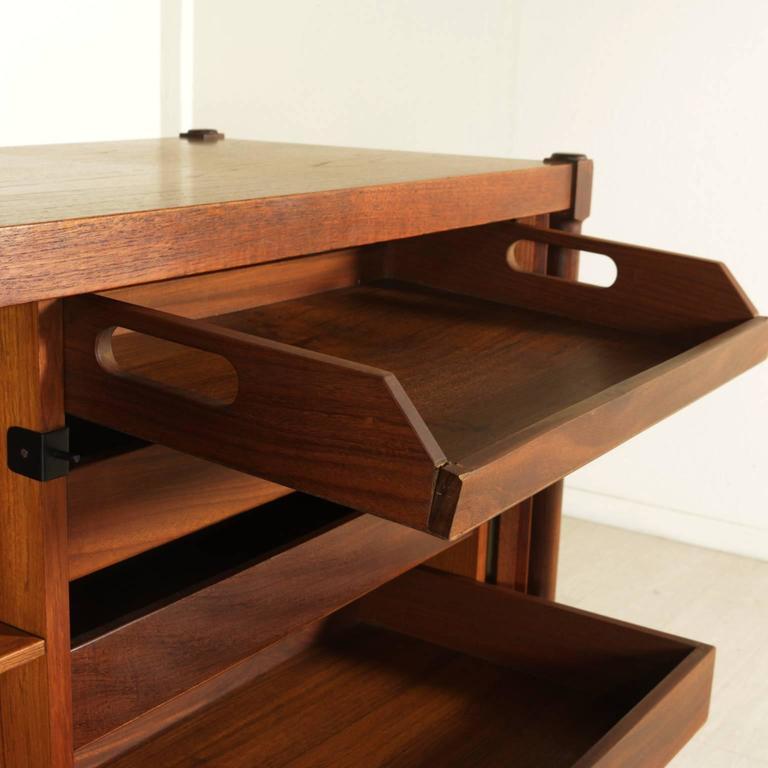 Teak veneered sideboard with roller doors vintage for Sideboard roller