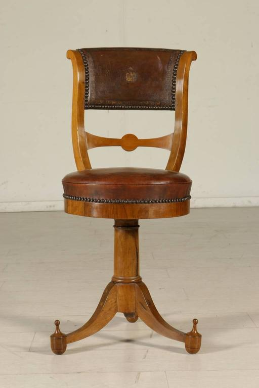 Italian Four Early 19th Century Empire Walnut and Cherry Music Chairs Tuscany, Italy For Sale