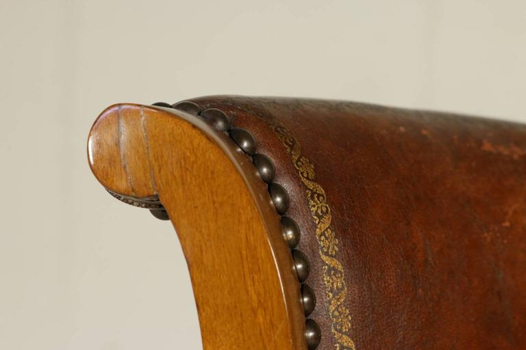Four Early 19th Century Empire Walnut and Cherry Music Chairs Tuscany, Italy In Good Condition For Sale In Milano, IT