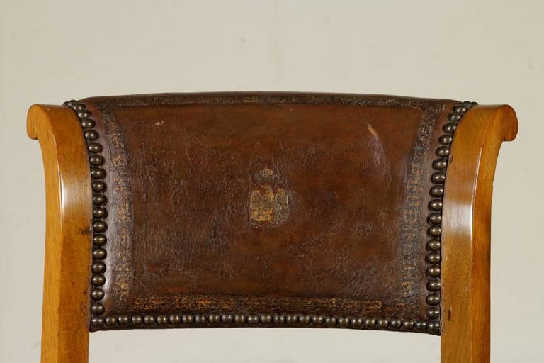 Four Early 19th Century Empire Walnut and Cherry Music Chairs Tuscany, Italy For Sale 2